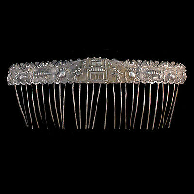 Chinese silver hair comb x7467