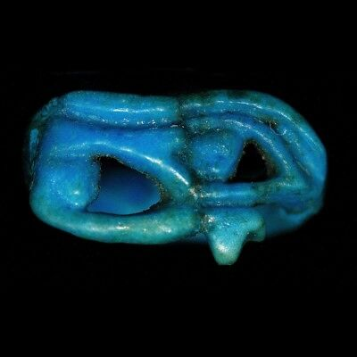 Egyptian faience ring with eye of Horus bezel, 18th - 19th Dynasty,  y2734