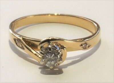18CT 750 Yellow Gold Diamond Solitaire Engagement Dress Ring 18K Valuation $2700