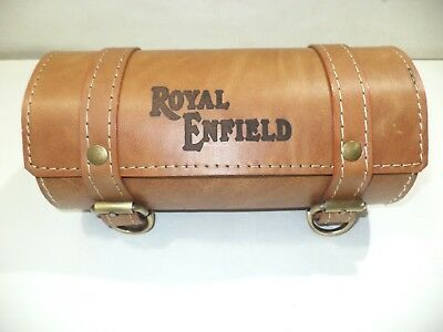 New tan color pure leather tool bag royal enfield engraved