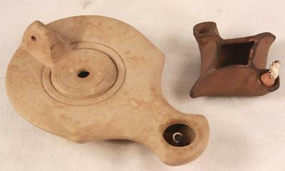 Pair Byzantine Period Oil Lamp Replicas Jerusalem Made in the Ancient Style