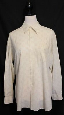 VINTAGE 1970s ~ Bisley Mens Sharp Beige Brown Arrow Print Long Sleeve Shirt XL