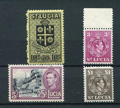 St Lucia 1938-48 top 4 values MNH SG136a/41  cat £65