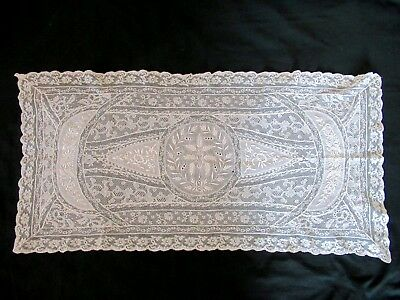 Antique French White NORMANDY LACE Runner Pillow Sham or Panel 16x34""