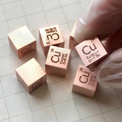 1 Piece 99.95% Copper Cu Cube Carved Element Periodic Table 10mm High Purity