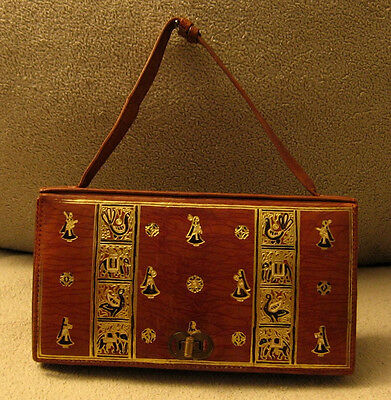 ANTIQUE Early 20th Century Gold Gilded Tooled Brown Leather Handbag Bag Purse