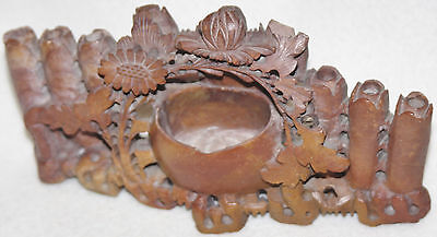 Chinese Unusual Design 1900-1920 Intricate Reddish Brown Soapstone Sculpture