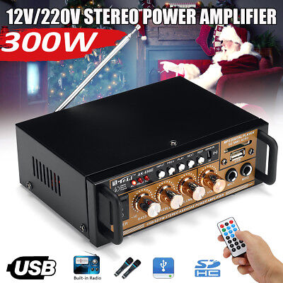 300W Mini HIFI Digital Audio Power Amplifier AMP FM Radio USB/TF 2CH Car Home
