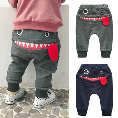 Baby Children Kids Boys Girls Cartoon Shark Cotton Harem Pants Trousers Pants
