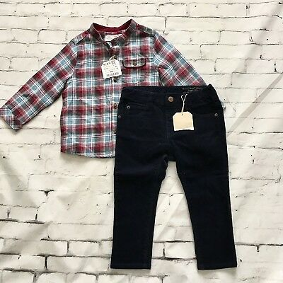 Zara baby boy 12-24M Navy Blue Corduroy Pants Flannel Button up shirt set