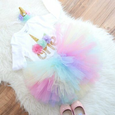 3PCS Baby Girls 1st Birthday Outfit Party Romper Skirt Cake Smash Tutu Dress Set