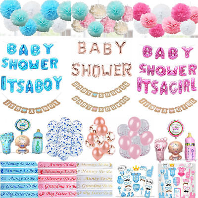 Baby Shower Mummy To Be Sashes Balloon Bunting Photo Props Pompoms Boy Or Girl
