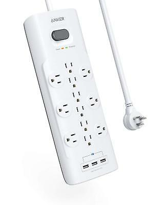 Anker PowerPort Power Strip, 12 Outlets & 3 USB Ports, Surge Protector