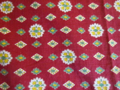 Antique Vintage French Provencal Fabric Pieces. Projects, Crafts. Red ground