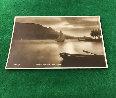 Moonlight On Loch Earn Scotland Un-Posted RP Vintage Postcard