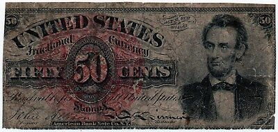 Fr 1374 - 50 Cents Fourth Issue Fractional Currency - Rough - Abe Lincoln