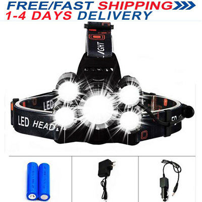UK Rechargeable 12000LM T6 3x CREE LED Headlamp Head Light Torch Lamp Flashlight