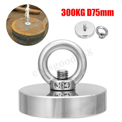 UK 300kg Neodymium Fishing Salvage Magnet D75mm Detecting Metal Treasure Hunting