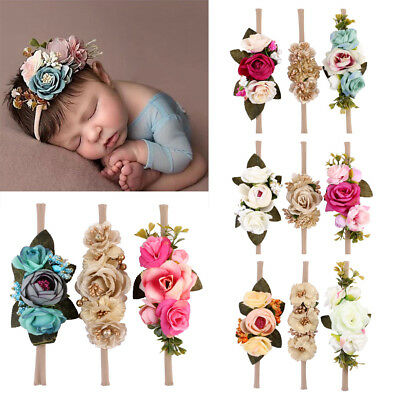 US Beauty 3Pcs Baby Girls Infant Toddler Flower Headband Hair Band Accessories