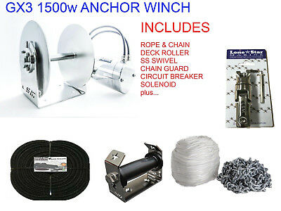 Anchor Winch GX3 Lone Star COMBO KIT 1500W Electric 300mm Drum up to 9m Boats