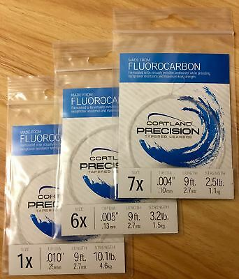 Cortland Precision Fluorocarbon Tapered Fishing Leaders - All Sizes Available