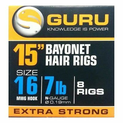"Guru Bayonet Hair Rigs MWG Hook 15"" - Match, Coarse Fishing"
