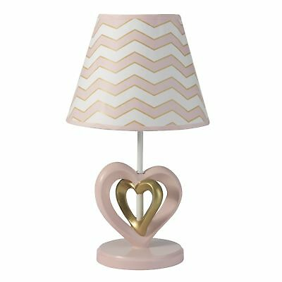 Lambs & Ivy Baby Love Lamp with Shade & Bulb - Pink, Gold, White, Love, Hearts