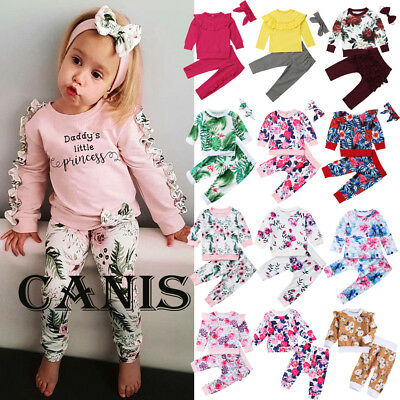 AU Canis Toddler Kids Baby Girl Long Sleeve Floral Tops Pants Outfit Set Clothes