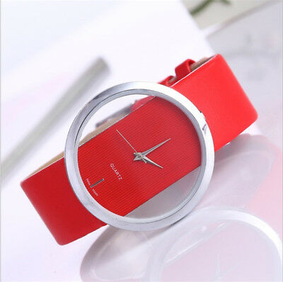 Fashion Cool Women Leather Band Transparent Dial Ladies Quartz Wrist Watch