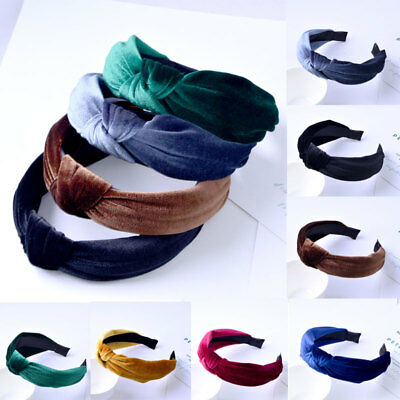 a1200fffd73de UK Womens Headband Twist Hairband Bow Knot Cross Tie Velvet Headwrap Hair  Band