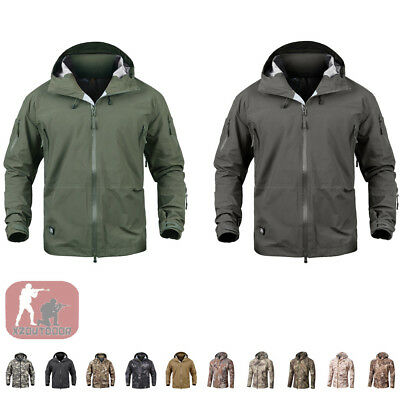 Army Mens Coat Military HardShell Jacket Tactical Hoodie Waterproof Hunting TAD~