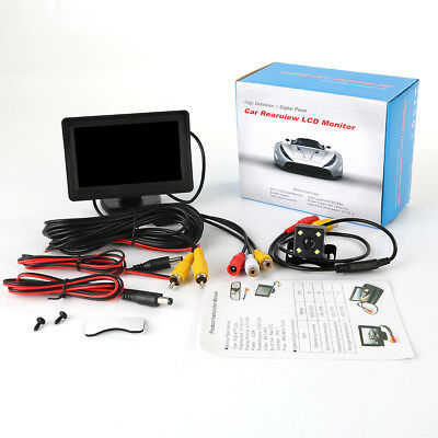 "Car Backup Camera Rear View HD IR Night Vision Cam & 4.3"" TFT LCD Monitor Kit"