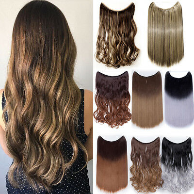 100% Real Long Wire Hair Extensions Invisible Hidden Halos Secret Headband Thick