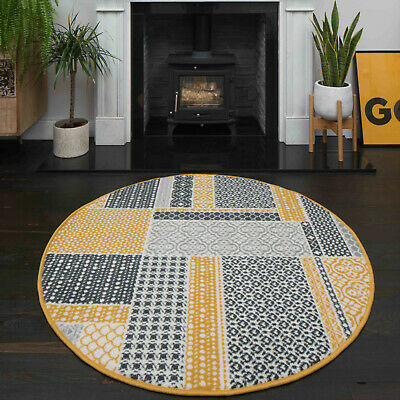 Traditional Ochre Yellow Patchwork Rugs Grey Check Circle Round Dining Room Rug