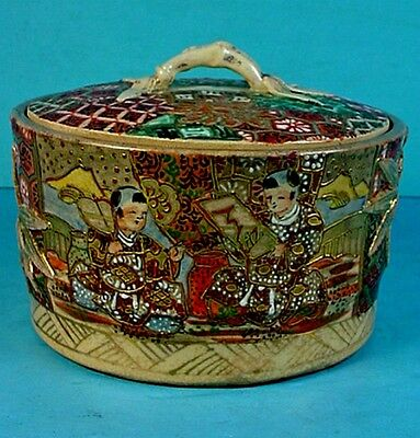 Antique Japanese Meiji Period Satsuma Earthenware Covered Round Box