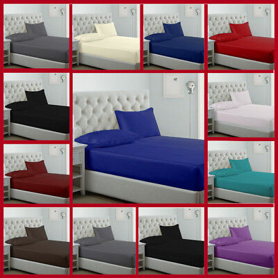 Full Plain Dyed 100% Fitted Poly Cotton Bed Sheets Single Double King S.King UK