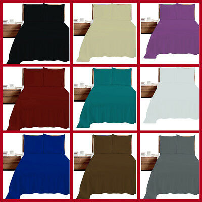 Flat Bed Sheet Plain Dyed Polycotton Sheets Size Single Double King Super king