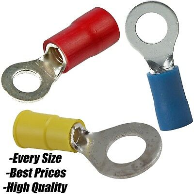 Red Blue Yellow Insulated Copper Crimp Ring Hoop Terminal Connector AWG Wire