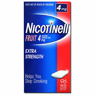 NEW Nicotinell Fruit Flavoured Nicotine Chewing Gum Extra Strength 4mg