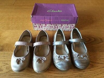 3635b845111 Girls Clarks Party Shoes 2 Pairs 10 1 2 G   10.5 F Gold Ballet