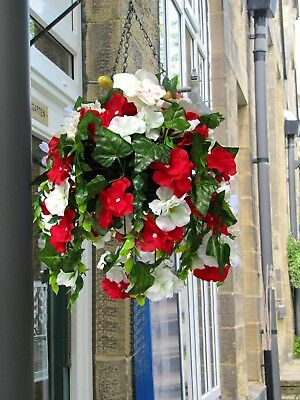 Artificial Hanging Basket In Red & White