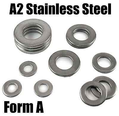 A2 Stainless Steel Form A Washers To Fit Bolts & Screws M4 M5 M6 M8 M10 DIN125a