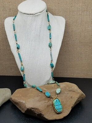 Vintage Egyptian Blue Faience Mummy Bead and Scarab Wire Wrap Necklace 32""