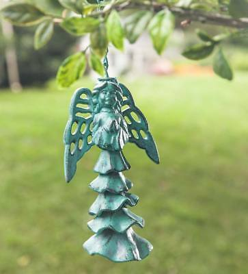 Cast Iron Hanging Angel Wind Chime with Verdigris-Style Finish