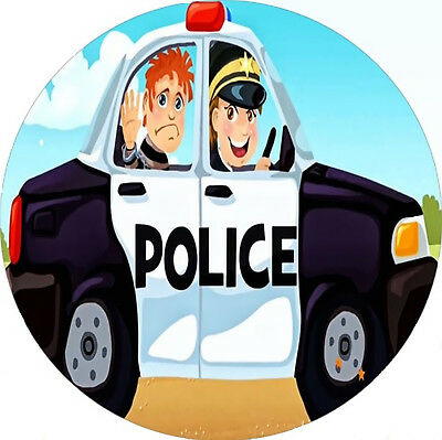 POLICE Personalised Cake Topper Car Round Square Wafer Icing Edible Birthday