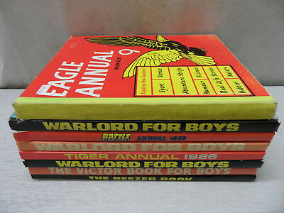 Collection of 8 Vintage Boys Annuals (Warlord for Boys/ Eagle/Tiger/ Beezer etc)