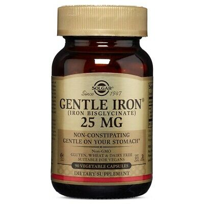 Solgar Gentle Iron 25 mg 90 Vegetable Capsules FREE Shipping Made in USA FRESH