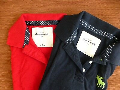 ABERCROMBIE&FITCH Red and Navy School Uniform Polo Girls L - UNWORN