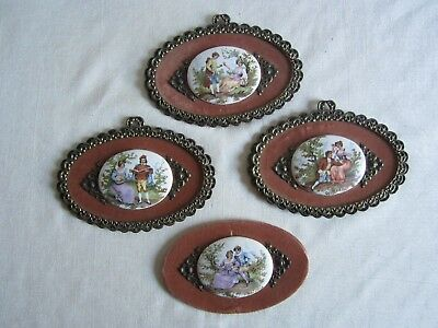 Lot of 4 Vintage Courting Victorian Man & Woman Cameo Wall Hangings, 3 Framed