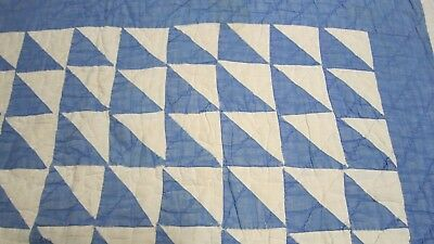 Vintage hand-stitched quilt piece- blue & white triangles –for craft project